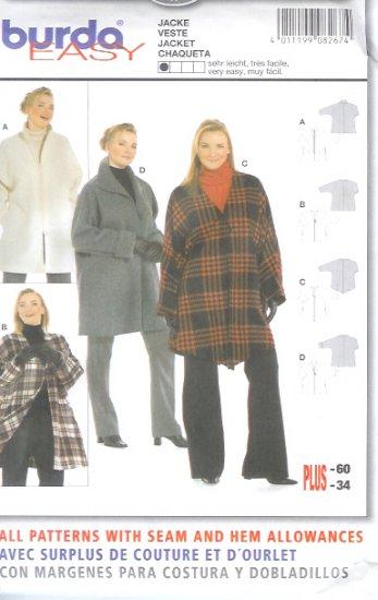 Burda 8267 Pattern EASY Jacket Size 16/18 - 32/34