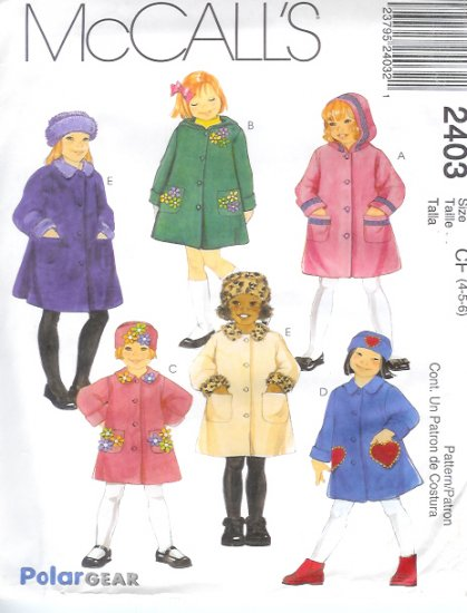 M2403 McCalls Pattern POLAR GEAR Unlined Coats and Hat in 3 Sizes Childs/Girls Size CE 3 -4 -5