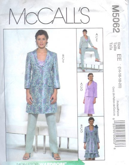 M5062 McCalls NON-STOP WARDROBE Lined Jacket , Top, Skirt, Pants Misses/Miss Petite Size EE 14 - 20