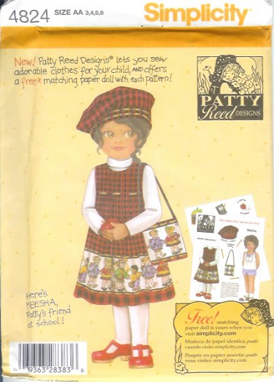 S4824 Simplicity Pattern PATTY REED Jumper, Hat and Bag Childs Size BB 5, 6, 7, 8