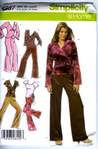 S4887 Simplicity Pattern @ HOME Pants, Knit Tops Misses Size PP 12, 14, 16, 18