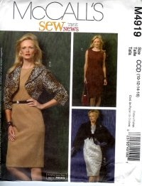 M4919 McCalls Pattern Lined and Unlined Jackets and Dress Misses/Miss Petite Size CCD 10 - 16