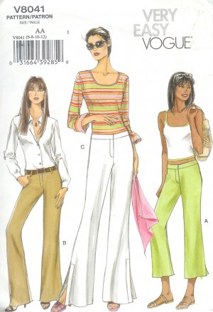 V8041 Vogue Pattern VERY EASY Pants Misses Size AA  6-8-10-12