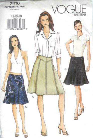 V7416 Vogue Pattern Skirt Misses Size 14, 16, 18