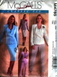 M4785 McCalls Palmer Pletsch  Pattern Lined Jackets,Top,Pants & Skirt Misses DD 12-14-16-18