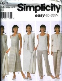 S5071 Simplicity EASY Pants,Skirts,Top,Dress or Jumper & Jacket Womens Petite Size GG 26W-32W