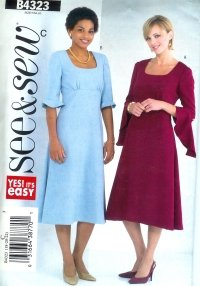 B4323 Butterick Pattern EASY SEE & SEW Dress Misses PETITE Size 12 - 14- 16