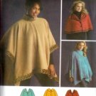 S4358 Simplicity Pattern Fleece Capelets and Poncho with trim variations Misses Size XS - M