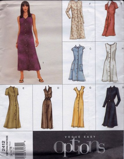 V2412 Vogue EASY OPTIONS Pattern Dress Miss Petite Size 14, 16, 18