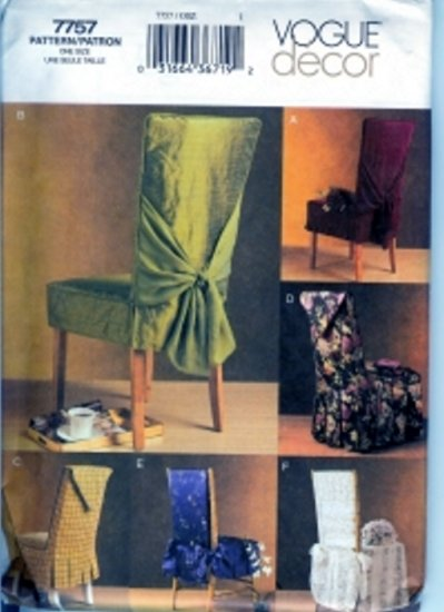 V7757 Vogue Pattern Decor Chair Covers