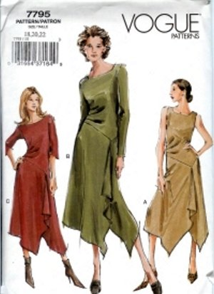V7795 Vogue Pattern Dress Misses/Miss Petite Size 6, 8, 10