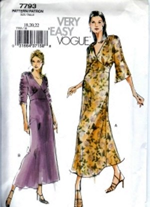 V7793 Vogue Pattern VERY EASY Dress Misses Size 12, 14, 16