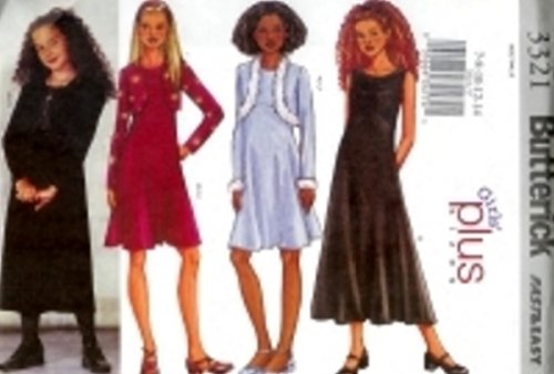 B3321 Butterick FAST EASY Jacket, Dress Girls PLUS Size 7,8,10,12,14