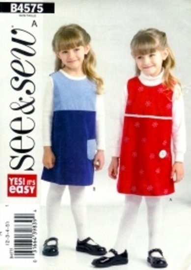 B4575 Butterick Pattern SEE & SEW Jumper Girl Size 2, 3, 4, 5