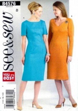 B4576 Butterick Pattern SEE & SEW Dress Miss Size 20-22-24