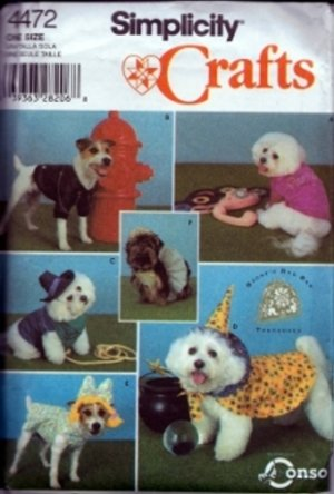 S4472 Simplicity Pattern PETS Coats and Costumes