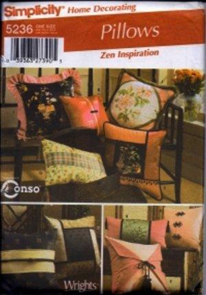 S5236 Simplicity Pattern PILLOWS a Zen Inspiration