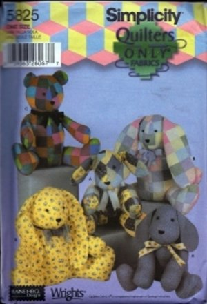 """S5825 Simplicity Pattern 20"""" Quilters Animals"""