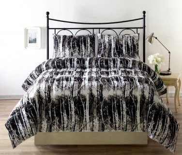 FULL/QUEEN Size Silhuett 3pc Reversible Down Alternative Comforter Set Green Taupe Black White Cover