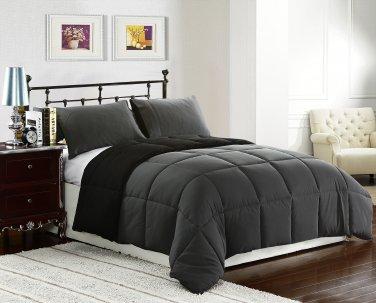 KING Size Bed 3pc Reversible Down Alternative Comforter Set, Black/Grey Bedding