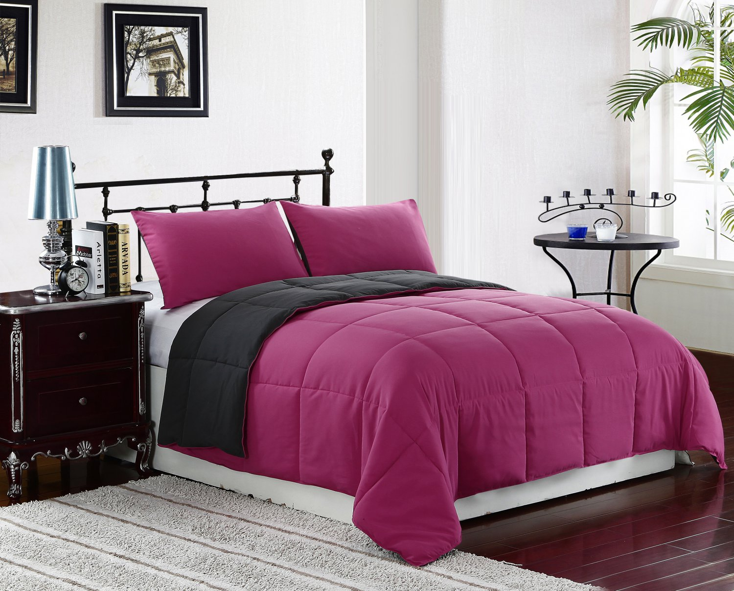 queen full size bed 3pc reversible down alternative comforter set pink grey bedding. Black Bedroom Furniture Sets. Home Design Ideas