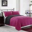 KING Size Bed 3pc Reversible Down Alternative Comforter Set, Pink/Grey Bedding