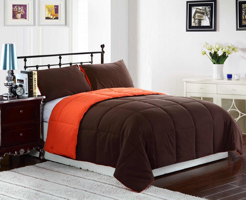 twin size bed 2pc reversible down alternative comforter set orange brown bedding. Black Bedroom Furniture Sets. Home Design Ideas