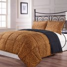 Full/Queen Size 3pc Reversible Brown Black Leopard Print Comforter Set, bed cover