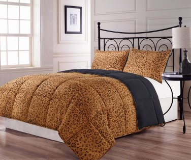 King Size 3pc Reversible Brown Black Leopard Print Comforter Set, bed cover