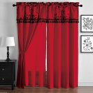 Violeta Red Ground with Black Floral Flocking window Curtain Set