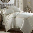 Portofino 3pc Duvet Set Taupe Ivory Tencel /Cotton Applique 400 Thread Count Bed