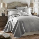 Coverlet Caterina Light Grey 3pc Luxurious Quilted Bedspread Set Tencel / Cotton