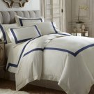 Portofino 3pc Duvet Set Navy Blue Ivory Tencel /Cotton Applique 400 Thread Count