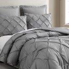 Estellar 3pc Light Grey Comforter Set Pinch Pleat Down Alternative Bedding Cover