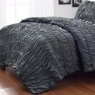 Pinzon 4pc Charcoal Grey Duvet Cover/ Duvet Insert Ruched Queen King/Cal-King