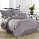 Royal Calico Light Purple 7pc Comforter set Damask Stripe 100% Cotton Queen King