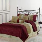 Amber FULL Size Bed 7pc Jacquard Stripes Comforter Set Burgundy Gold Cream Color