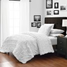 Ruched WHITE 3pc Comforter Set Ruffled Pinch pleat Bed Cover Bedddings All Size