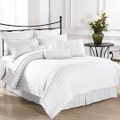 Royal Calico WHITE 7pc Comforter set Damask Stripe 100% Cotton 350 Thread Count
