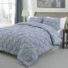 Master 3pc Pinch Pleat Comforter Set, Stone Blue Pintuck Pattern Bedding set
