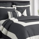 Chaz 5pc Charcoal Grey Comforter Set Print Ivory Square Stripe Bedding Cover Set