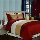 Amber 7pc Jacquard Stripes Comforter Set Burgundy Gold Cream Full Size Bed Cover