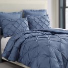 Estellar 3pc Jeans Blue Comforter Set Pinch Pleat Down Alternative Bedding Cover