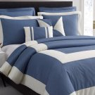 Chaz 5pc Jeans Blue Comforter Set Print Ivory Square Stripe Bedding Cover Set