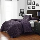 Ruched DARK PURPLE 3pc Comforter Set Ruffled, Pinch pleat Bed Cover Bedddings