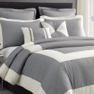 Chaz 5pc Light Grey Comforter Set Print Ivory Square Stripe Bedding Cover Set