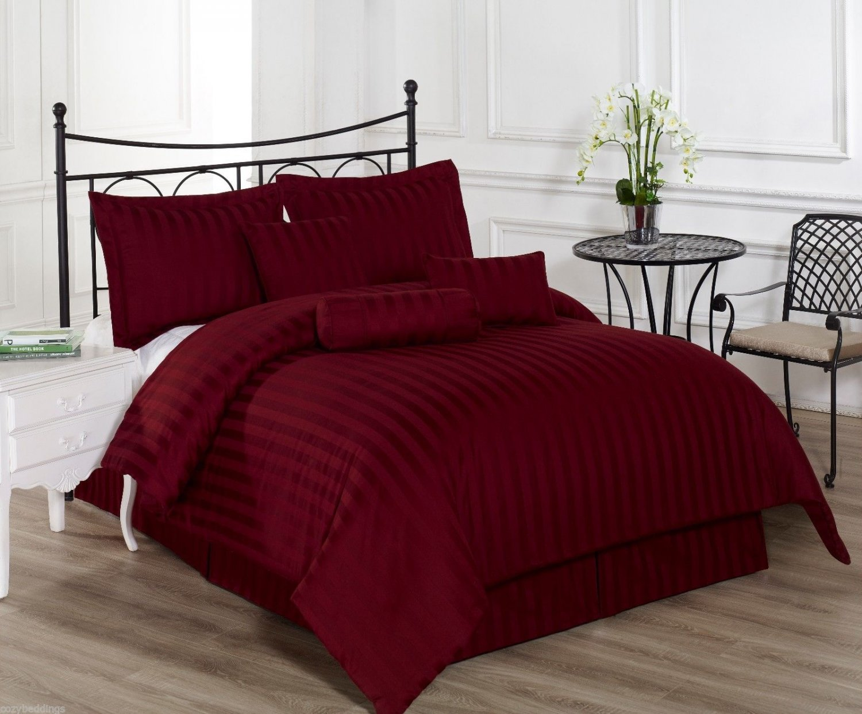 Royal Calico Burgundy 7p Comforter set Damask Stripe 100% Cotton 350 Thread Coun