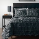 Ruched Charcoal Grey 3pc Comforter Set Ruffled Pinch pleat Bed Cover Bedddings
