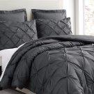 Estellar 3pc Charcoal Grey Comforter Set Pinch Pleat Down Alternative Bedding