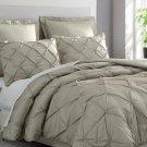 Estellar 3pc Tan Comforter Set Pinch Pleat Down Alternative Pintuck Bedding